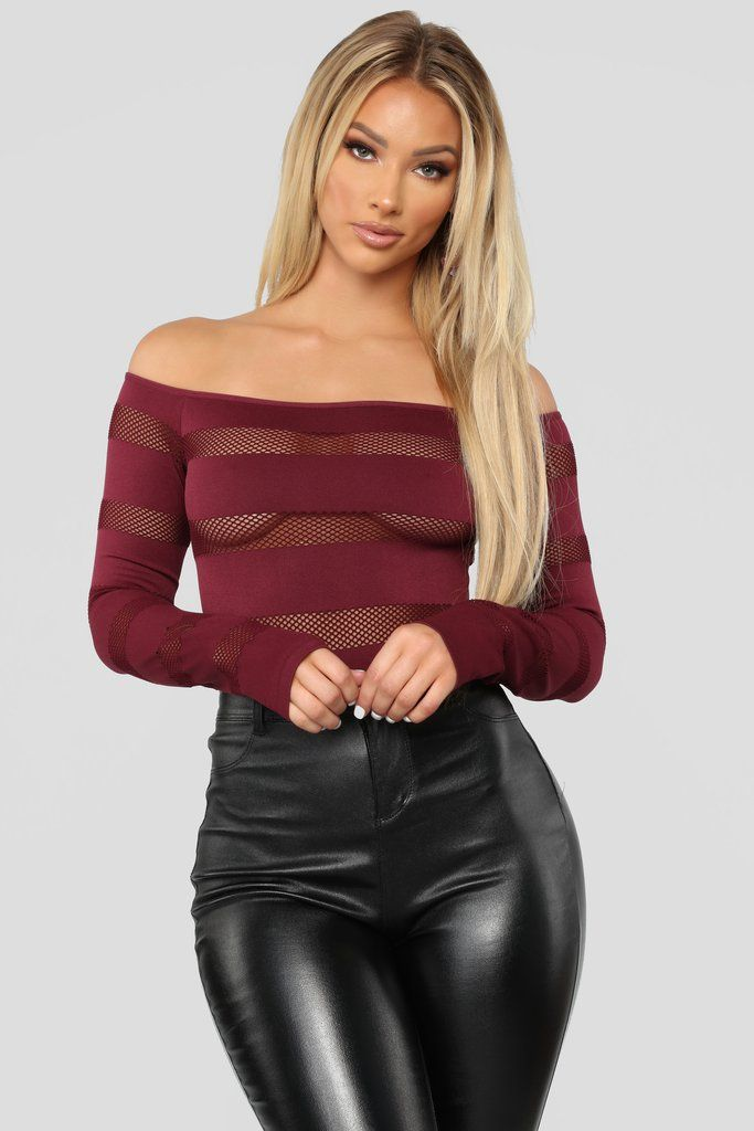 55e623a3e8b On The Fence Fishnet Bodysuit II - Wine in 2019