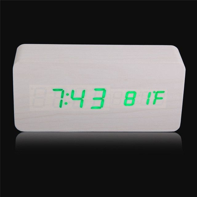 Modern Rectangle Wooden Digital Alarm Clocks Home Decor Vintage Calendar LED Alarm Clock with USB cable