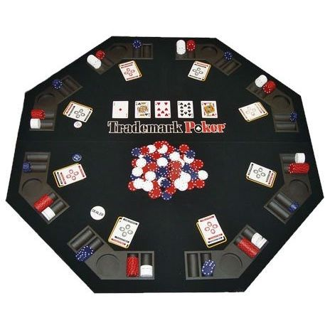 Folding Poker Table Top and Chip Set - Easy to Transport