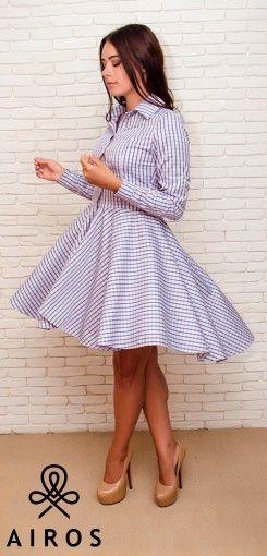 Женское платье-рубашка в клеточку, с ассиметричной юбкой