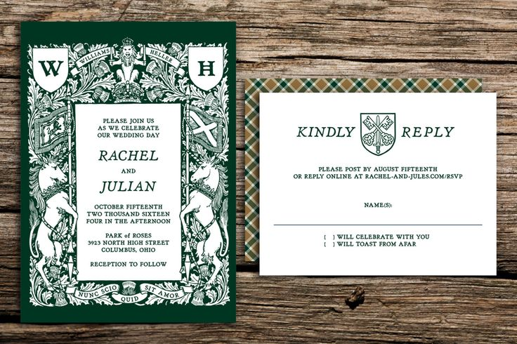 Crest and Tartan Wedding Invitation Set // Scottish Wedding Invites Rustic Crest Forest Green Wedding Invitations Unicorns Medieval by factorymade on Etsy https://www.etsy.com/listing/450425360/crest-and-tartan-wedding-invitation-set