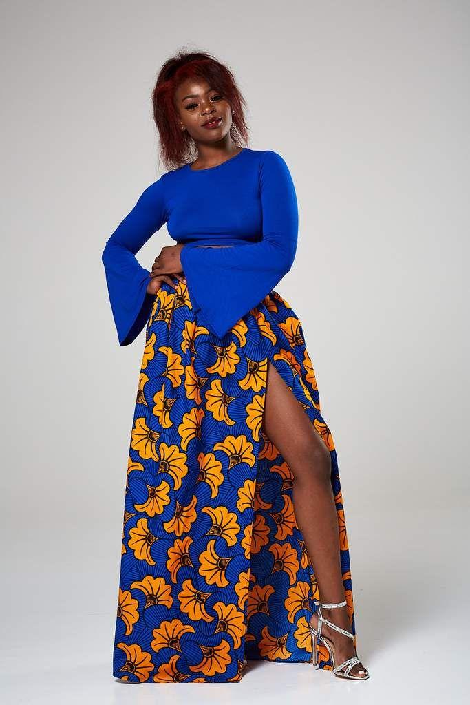 32a955ec0f Ankara African print maxi skirt with pockets & side slit - NALIKA ...