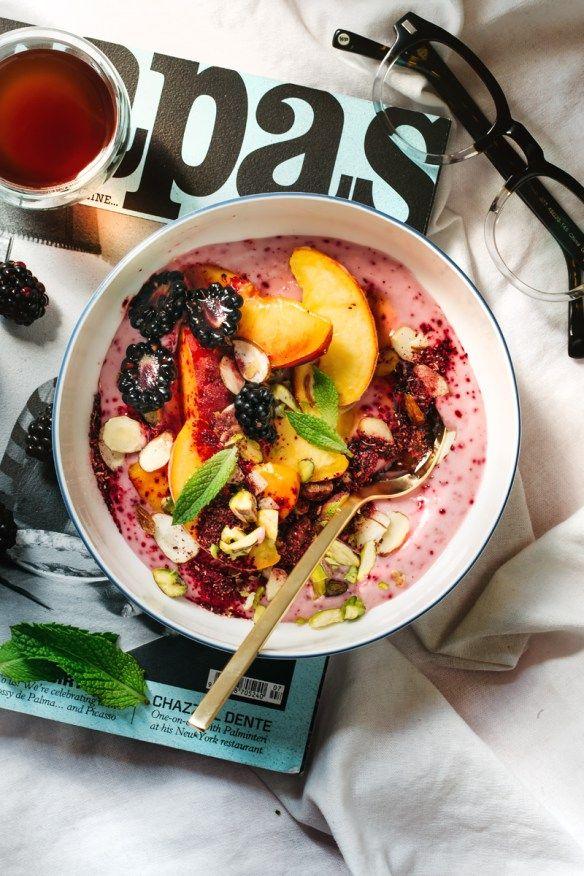 Breakfast Hack: Tangy Hibiscus Yogurt (dairy-free), Warm Peaches, and Honey