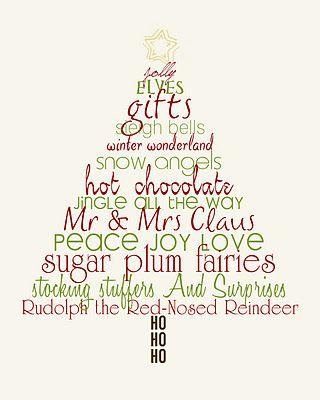 Christmas Word Art Tree - Free printable