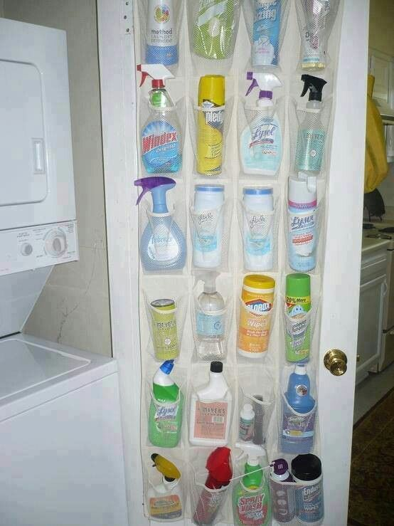 I love this idea, see all your cleaning supplies at a glance. Label the spaces behind the bottles and see what your missing or out of.