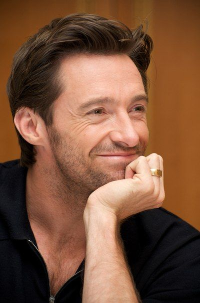 """HUGH JACKMAN- he looks like he's talking to someone over coffee and thinking, """"You're so adorable."""" I'd have coffee with him. I would GIVE him my own beloved coffee if he would just gaze into my eyes... wait, what? I must have floated off on a fantasy for a minute."""