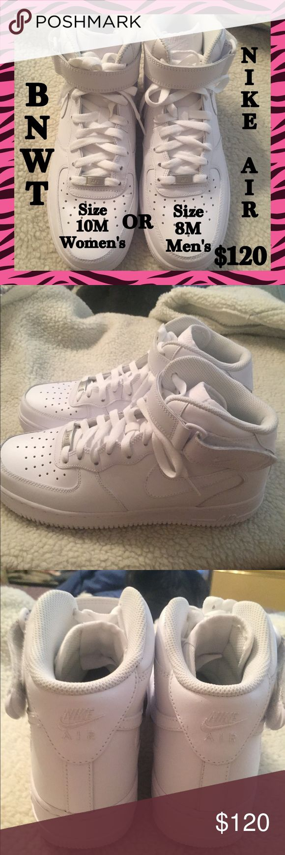 BNWT- Nike Air Force One White Mid Tops. BNWT-  Nike Air Force One White Mid Tops, With Velcro Closure. Size Women's 10M/ Men's Size 8M.  I Ordered On Line & They Are A Bit Too Big, I Only Tried On Once, NEVER WORN!!!  BRAND NEW!!!  In Perfect Condition!!!  10/10.  Comes With Original Box. Nike Shoes Athletic Shoes