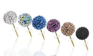 Groupon - 14K Gold Swarovski Elements Crystal Ball Stud Earrings in [missing {{location}} value]. Groupon deal price: $14.99