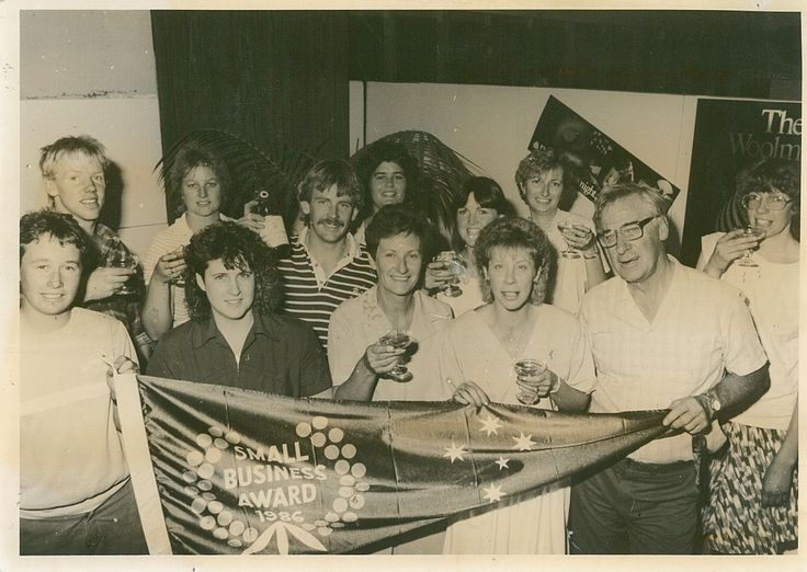 The team in 1986 after they were awarded the Small Business Award.