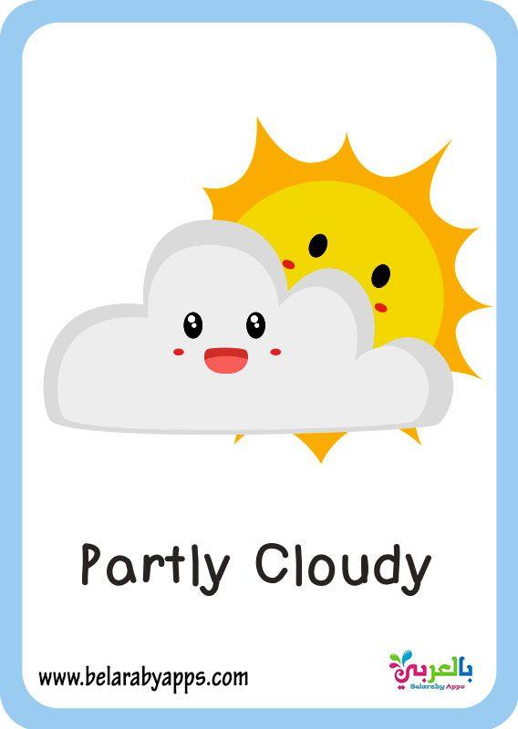 بطاقات تعليم حالة الطقس بالانجليزي Pdf فلاش كارد تعليمي بالعربي نتعلم Preschool Learning Home Decor Decals Preschool