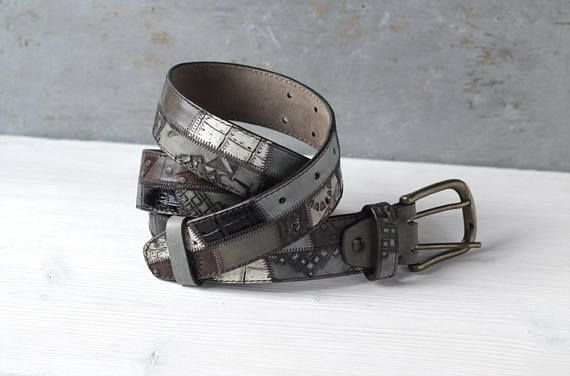SALE Khaki Gray Brown Leather Belt 1 1/2 Inch  от TwoStarlings