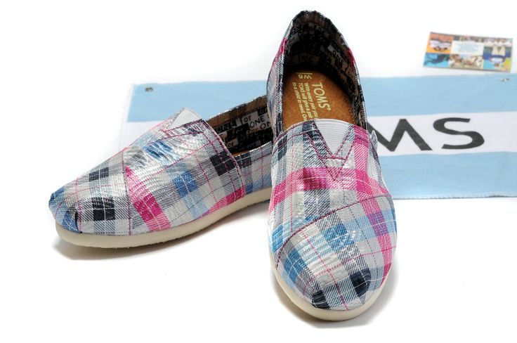 Toms Wedges Women Red Plaid Comfortable