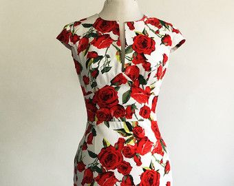 Summer dress floral dress vintage style dress red and white