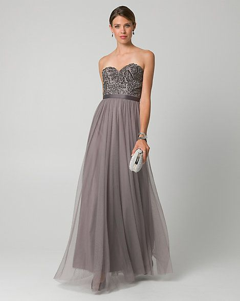 Le Chateau - Jewel Embellished Mesh Sweetheart Gown - Stunning jewel embellishments decorate the fitted bodice of a sweetheart gown, while the gracefully pleated mesh skirt flows from the waistband to the toe-skimming hem.