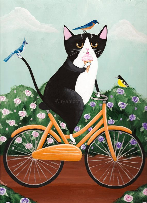 Frühling-Tux-Katze auf ein Fahrrad 9 X 12 - Original Volkskunst Gemälde