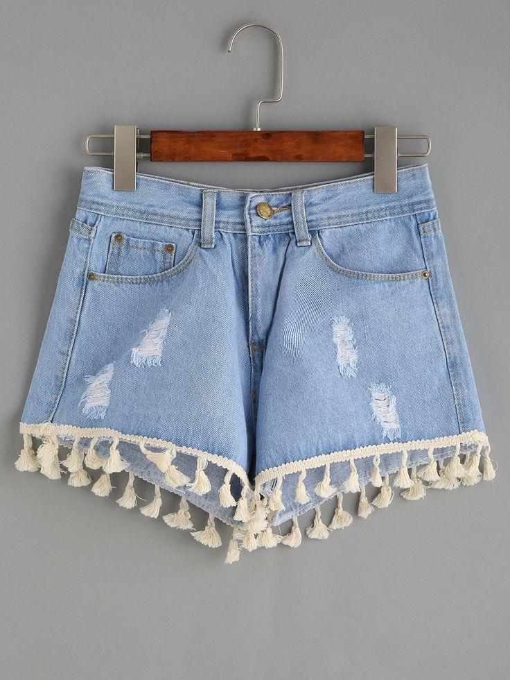 Blue Ripped Tassel Trim Denim Shorts