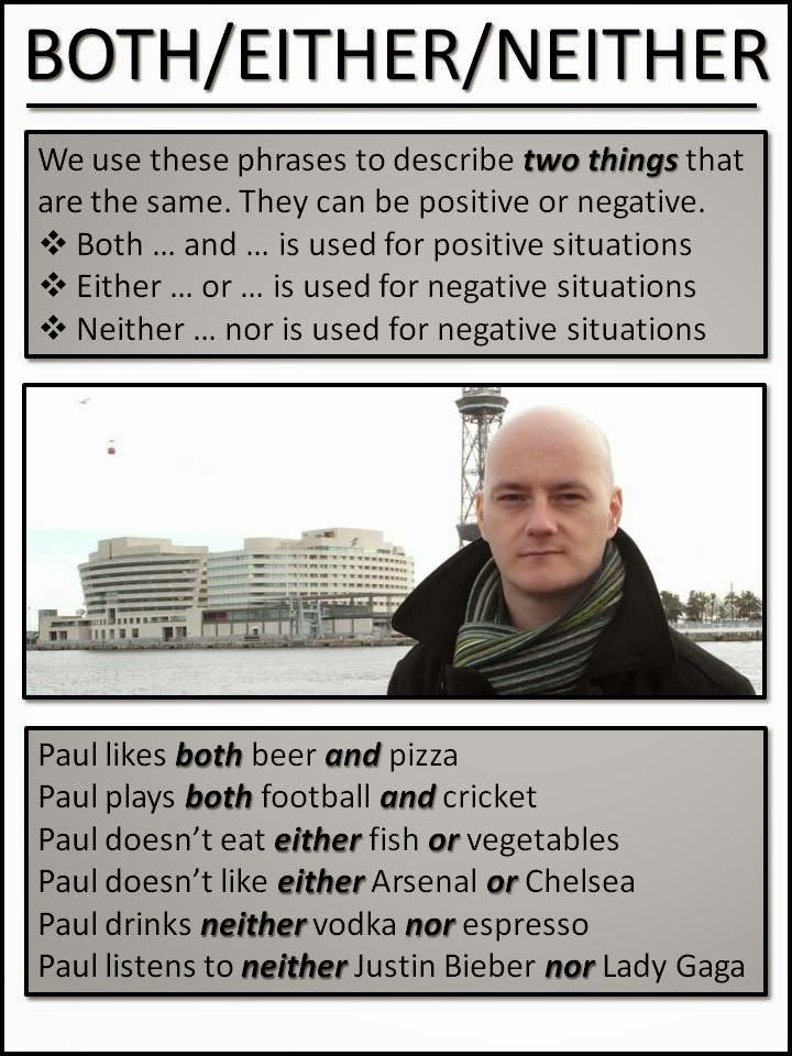 AskPaulEnglish: BOTH, EITHER NEITHER