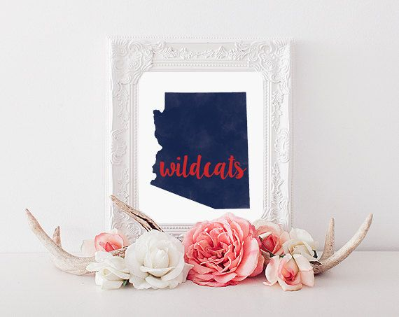 Arizona Wildcats Watercolor State Printable by CollegeAintCheap university of arizona, Tucson
