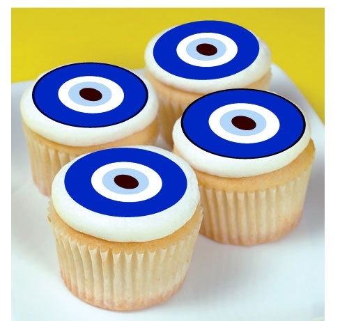 Turkish evil eye edible cupcake toppers