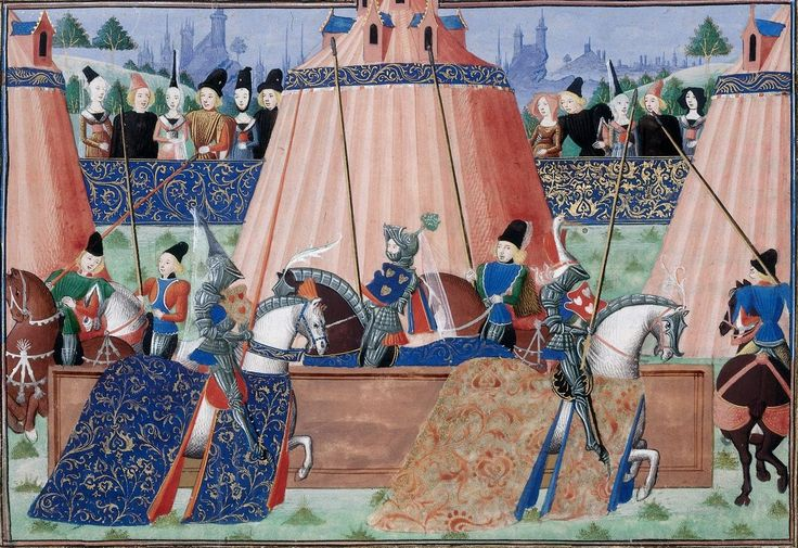 Tents and mounted knights by Jean Froissart, c.1470-1472. The British Library, Public Domain
