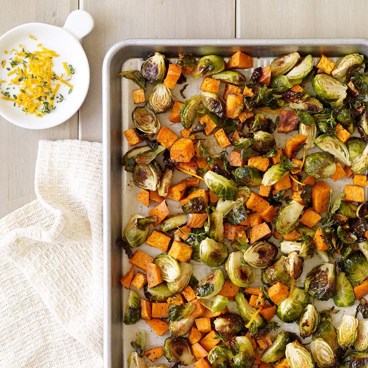 Orange-Thyme Roasted Brussels Sprouts and Sweet Potato | Healthy Recipes