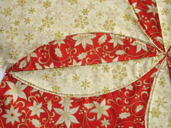 Christmas Table Runner Quilt Gold Snowflakes by KeriQuilts on Etsy
