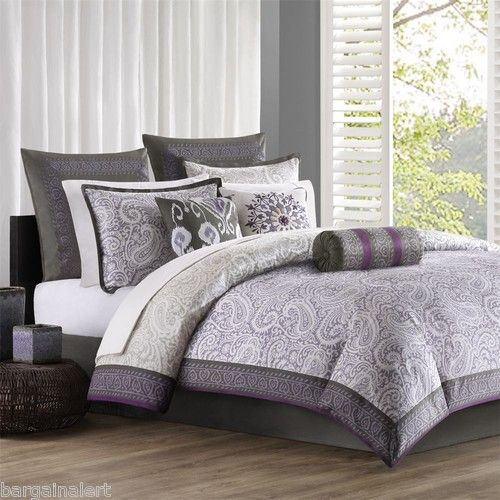 Echo Design Marrakesh Purple Gray Paisley 7 Pc Full Queen Duvet Cover New