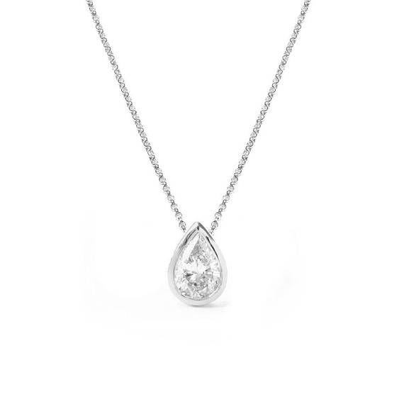 Pear Shaped Diamond Bezel Setting Pendant Necklace 14k White Gold Pear Shaped Diamond Pendant Nec Bezel Diamond Teardrop Diamond Pear Shaped Diamond Necklace