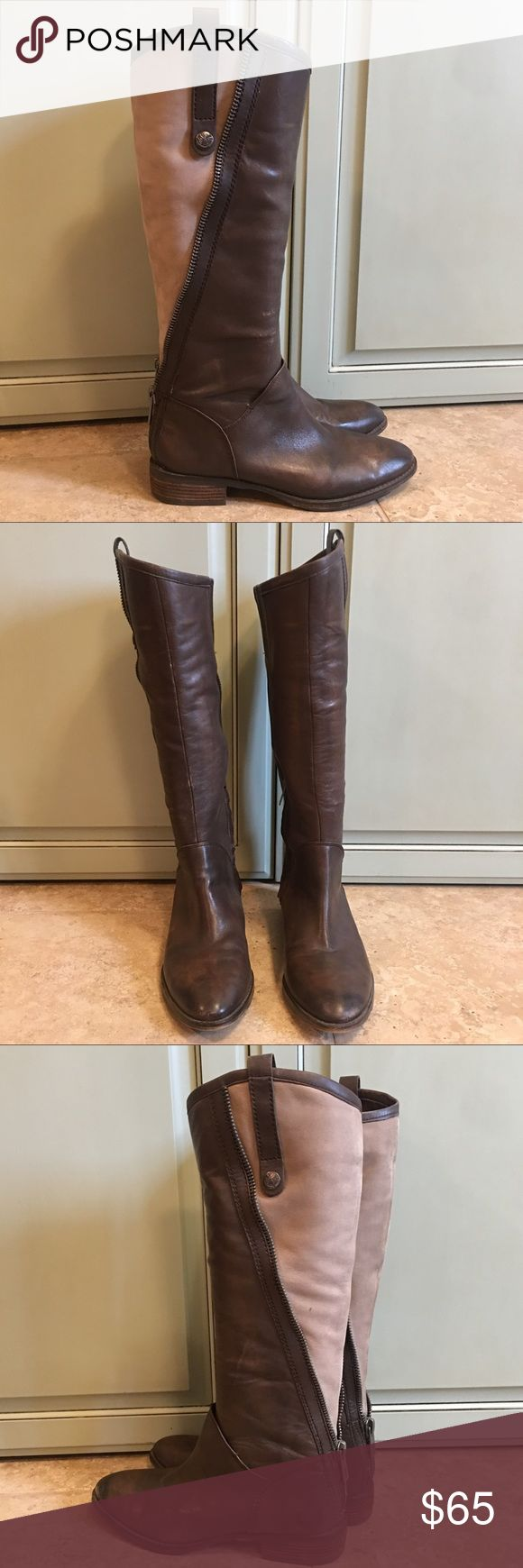 Sam Edelman Shoes Amazing tall mixed media riding boot. I love the fun feel of the mixed fabrics, leather and a suede like material. Fun zipper detail up the back. Silver hard ware. Sam Edelman Shoes Winter & Rain Boots