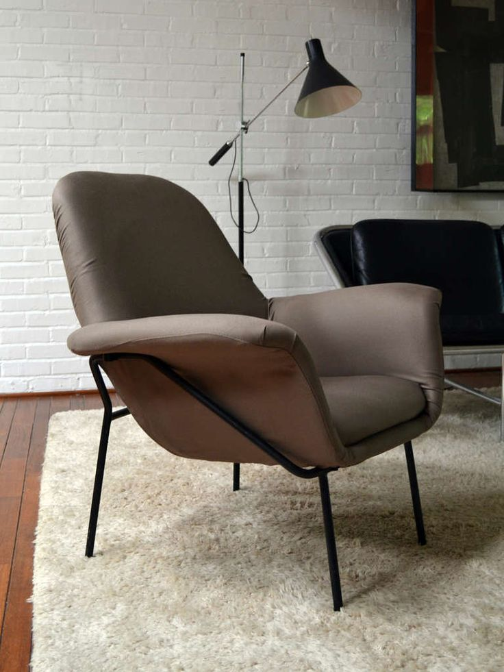 Lounge chair with iron frame by René Jean Caillette | From a unique collection of antique and modern lounge chairs at https://www.1stdibs.com/furniture/seating/lounge-chairs/