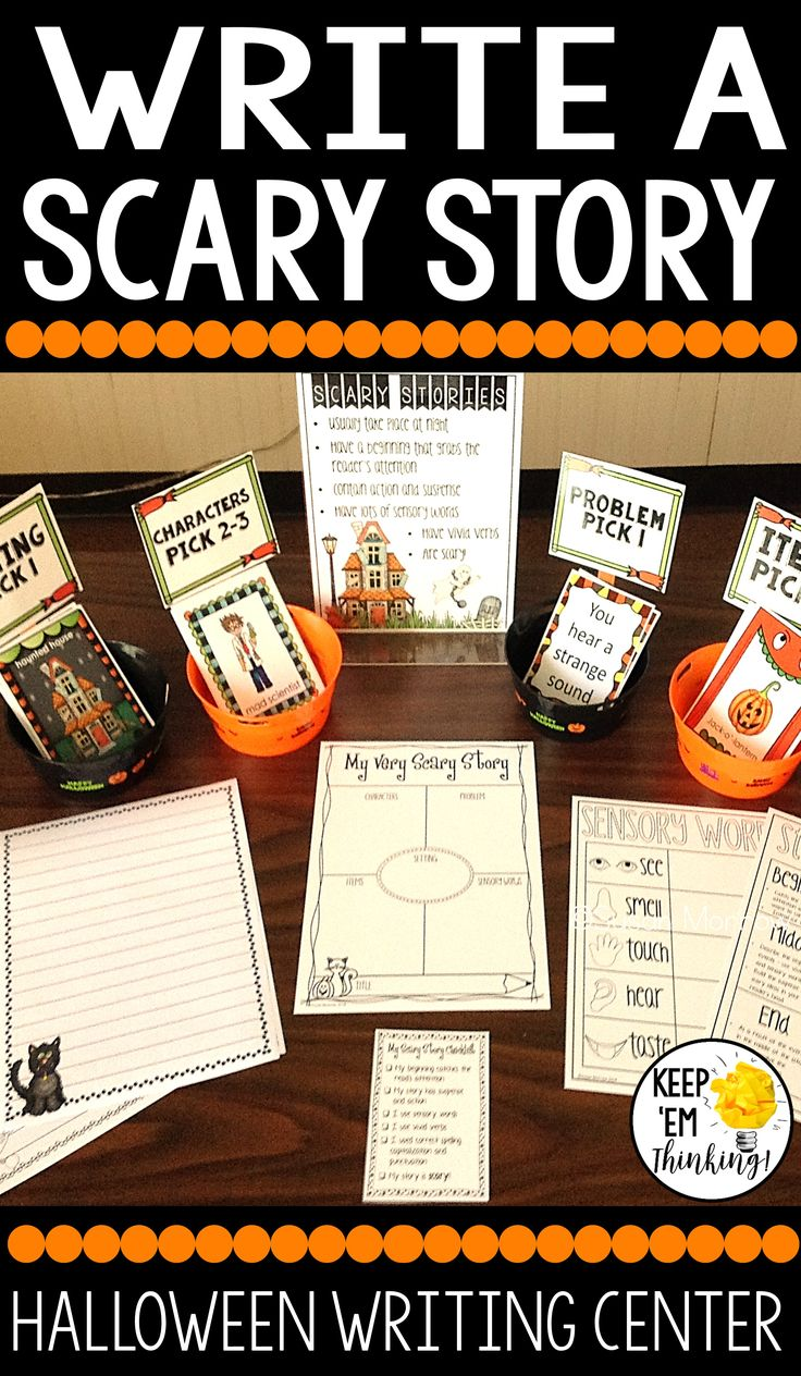 Halloween Writing Center: Write a Scary Story - Your 2nd, 3rd, 4th, and 5th grade classroom or homeschool students are going to love this resource! It's a great Halloween writing center that lets your students writing super scary stories. Your purchase includes story setting cards, problem cards, character cards, item cards, graphic organizers, a story checklist, writing papers, and MORE! Click through for all the details! Great for your second, third, fourth, or fifth grader all of October…