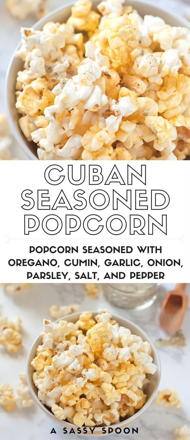 Cuban Seasoned Popcorn! Take popcorn to the next level by seasoning it with homemade or store-bought complete seasoning! via /asassyspoon/