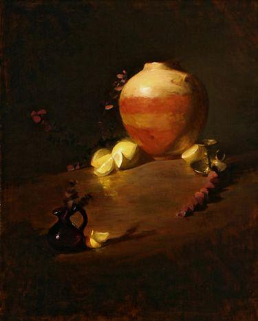 Leah Lopez :: Paintings :: Clay Vase and Lemons