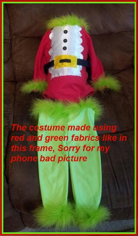 Baby Grinch Onesie and pants costume great for Halloween, Christmas or a Birthday party Made by Sam (Nefertaricrafts) https://www.etsy.com/shop/NefertariCrafts?ref=pr_shop_more