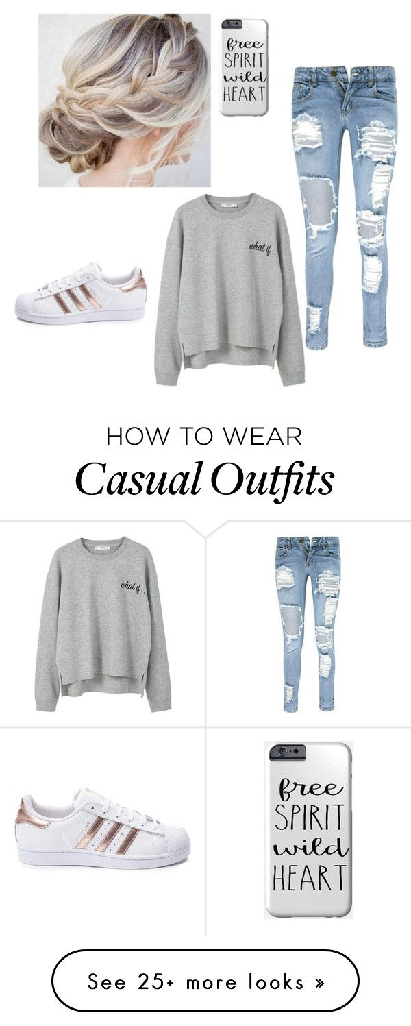 """Casual"" by annierich13 on Polyvore featuring Boohoo, adidas and MANGO"