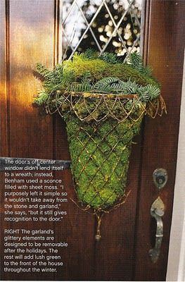 I love all the natural elements mixed with the metal basket...Holiday Wreaths, The Doors, Holiday Doors, Front Doors Decor, Design Dump, Wreaths Alternative, Wire Baskets, Alternative Holiday, Hanging Baskets