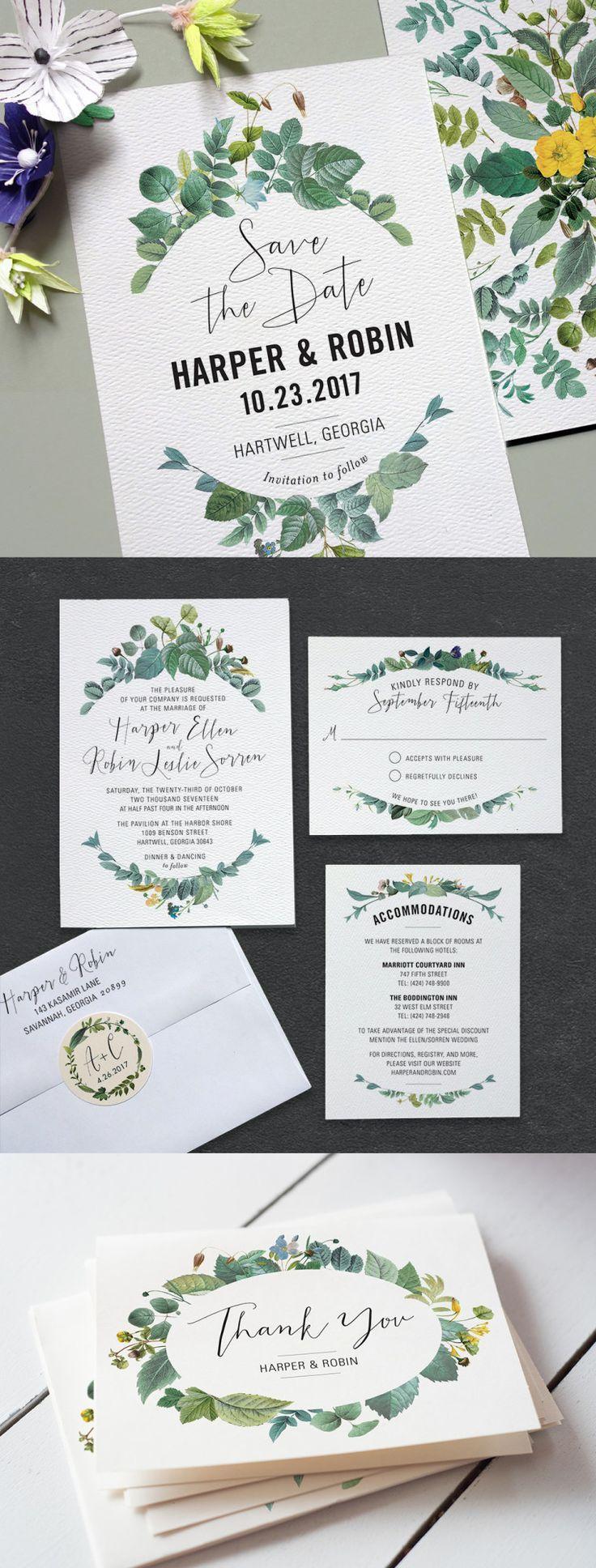 Watercolor foliage wedding invitations    Bella Collina Weddings