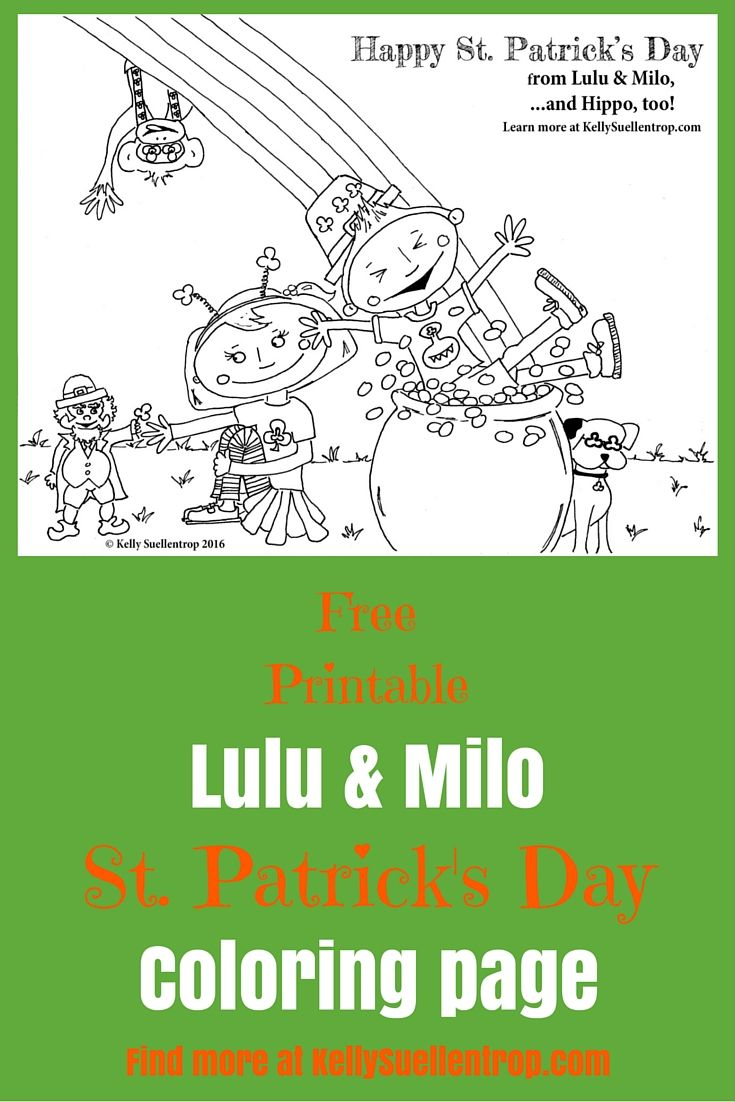 free printable st patricks day coloring page featuring lulu milo characters in the