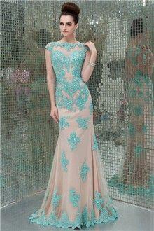 Sheath/Column Bateau Floor-length Tulle Lace Prom Dress
