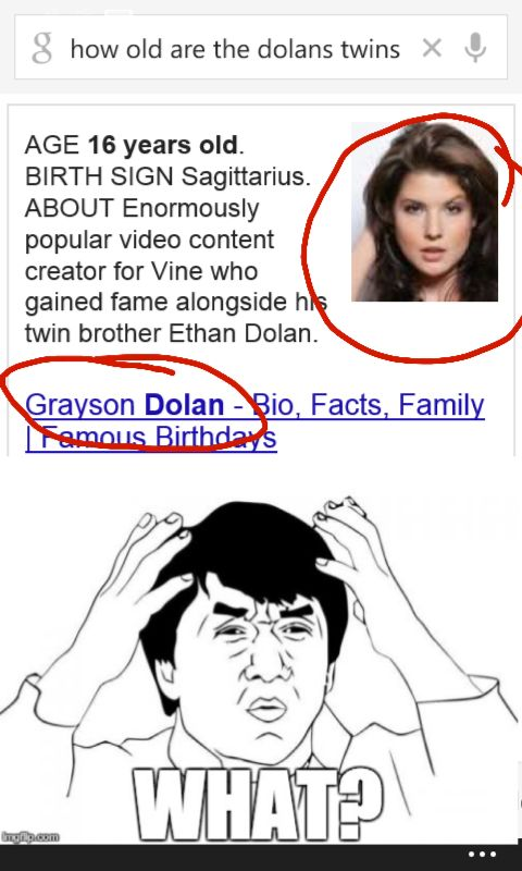 I looked up on Google how old the Dolan twins were and Google legit put a pic of Amanda Cerny  for Grayson's Bio pic!!! XD lol I'm dying!!!!     *********NOT PHOTOSHOP*********