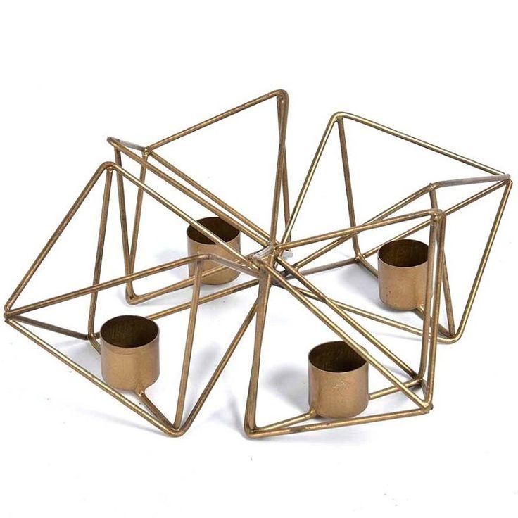 Świecznik Geometric z kolekcji GOLD LINE firmy Belldeco - NieMaJakwDomu