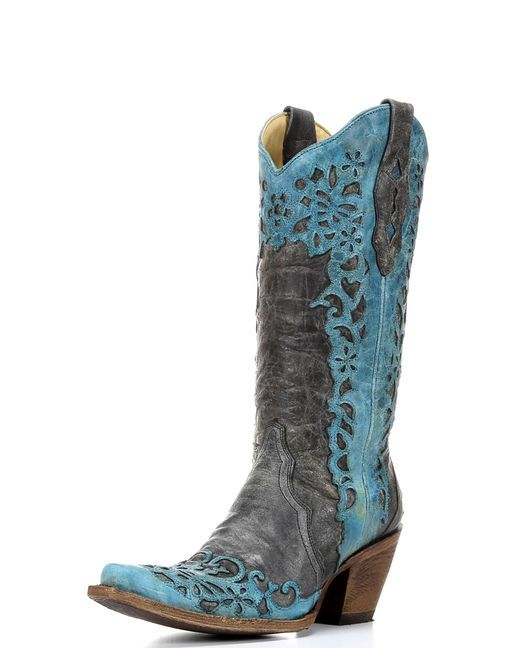 Corral Women's Black/Turquoise Laser Overlay Cowgirl Boot   http://www.countryoutfitter.com/products/50990-womens-black-turquoise-laser-overlay-boot-a2800
