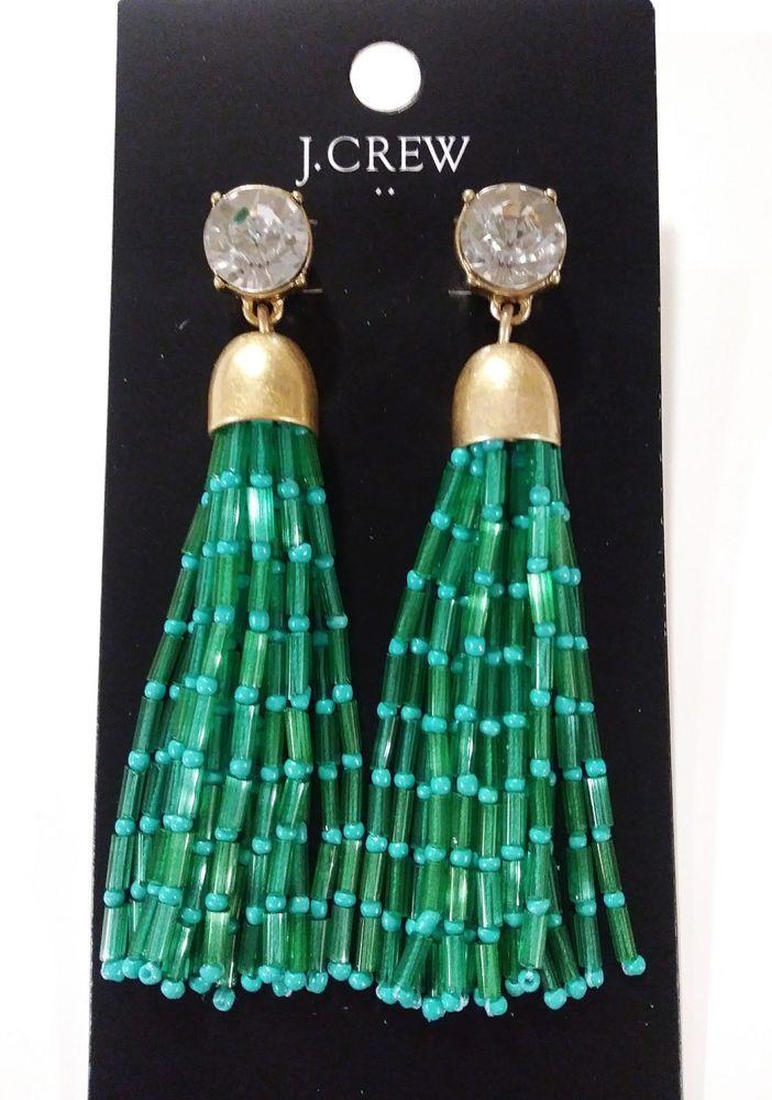 4fa00d6f0e9f5b J.Crew Factory Mixed Bead Tassel Earrings Frosty Emerald With Dust Bag  K7431 NWT #JCREW #Tassel