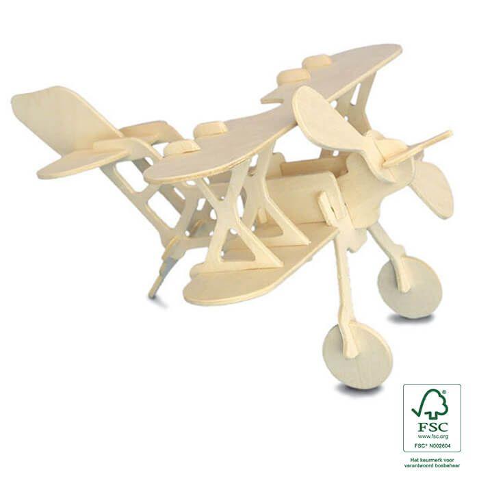 3D puzzels houten vliegtuig - Bi-plane