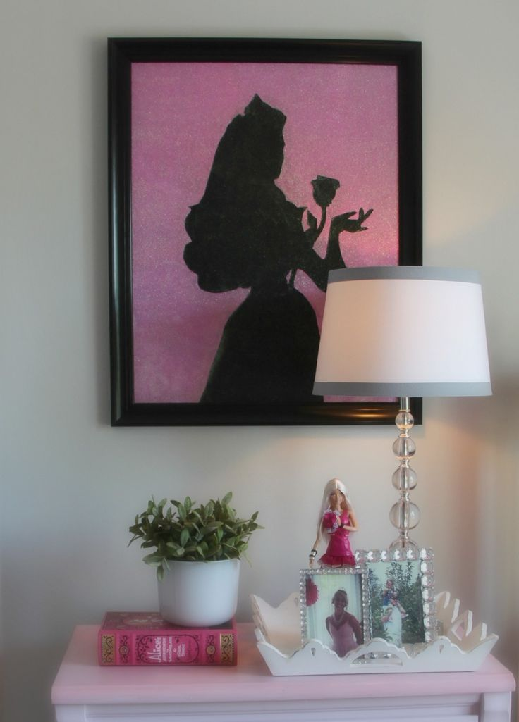 create a sparkling sleeping beauty princess silhouette glitter piece of art that your little girl will love!