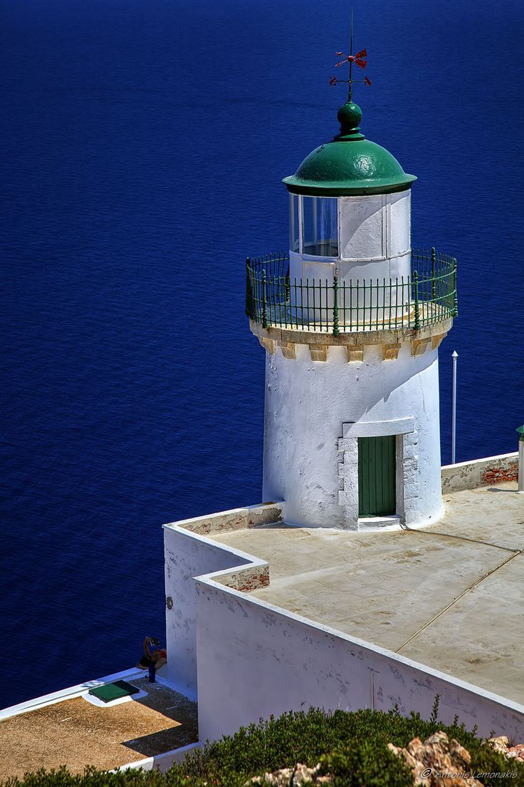 A lighthouse built in 1898 on Polyaigos, an uninhabited island in Greece.