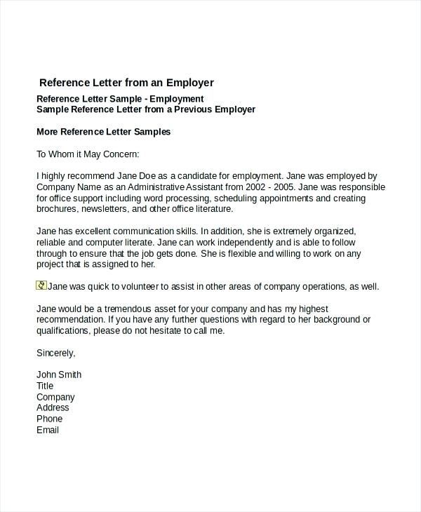 letter of recommendation for personal assistant