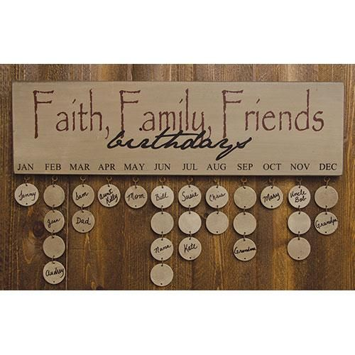 The Birthday Calendar helps keep track of friends and loved ones birthdays. Distressed wooden plaque lists each month, and has metal eyelets for adding the round wooden name tags. Each of the tags has