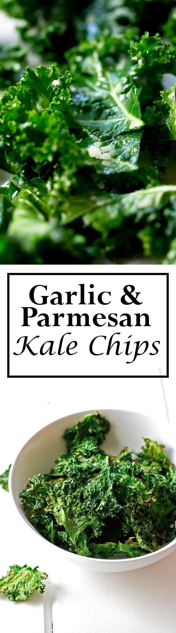 Homemade Garlic and Parmesan Kale Chips! Don't knock it until you try it.  These are ridiculously good!