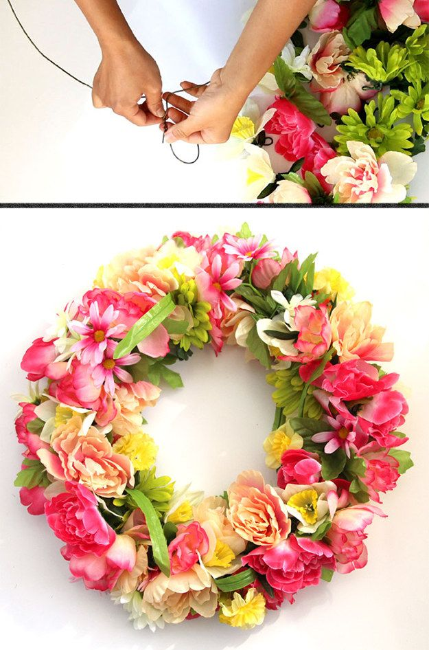 String faux flowers onto a wire dry-clean hanger to make a fluffy spring wreath. | 42 Dollar Store Tricks Every Broke Person Should Know